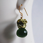 Gemstone Cluster Dangle Earrings-Green Keishi Pearl - Green Quartz Dangle cluster earrings
