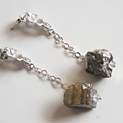 Gorgeous Silver Pyrite Nugget Dangle Drop Earrings- wedding Jewelry