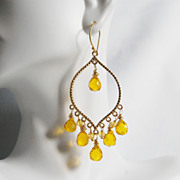 Yellow Quartz Gemstone Chandelier Dangle Earrings