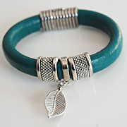 Teal Green Licorice Leather Bracelet- Bangle bracelet- Leaf charm Bracelet - Cuff Bracelets