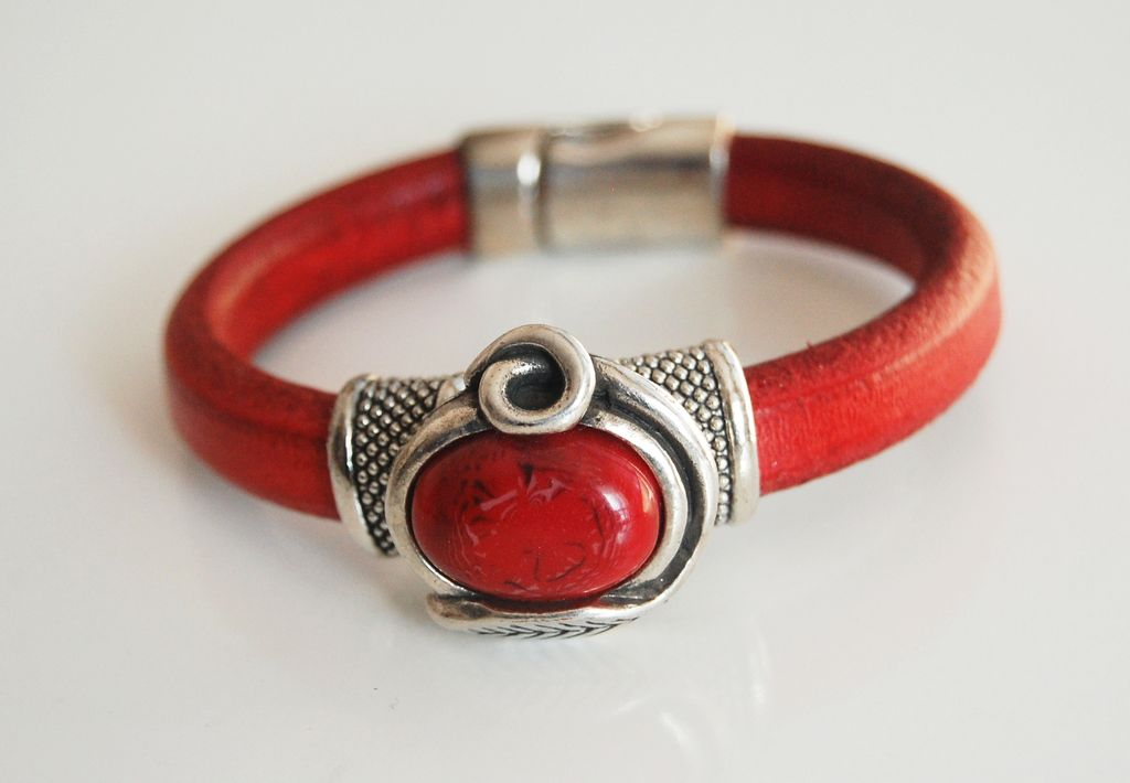 Red Licorice Leather Bracelet-Bangle bracelet- Red stone charm Bracelet - Cuff Bracelets -