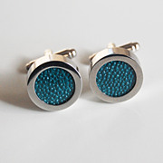 Men's Stingray Cuff links - Men's jewelry- Men's Cuff links- Photo Cuff Links-Teal Green Sting
