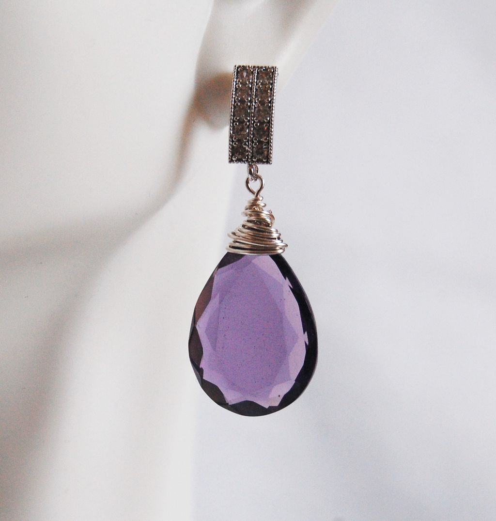 Gorgeous AAA Purple Quartz Briolette Dangle Drop Earrings- Wedding Jewelry- Bridal Jewelry