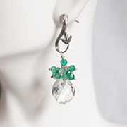 Crystal Quartz Cluster dangle Drop Earrings - Wedding Jewelry -Mystic Green Quartz Dangle Earr
