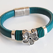 Teal Green Licorice Leather And Flower Slider -Green O ring Bracelet- Bangle bracelet- - Cuff 