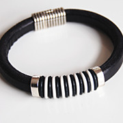 Men's Black And White Licorice Greek Leather Bracelets - leather Bracelets- Men's Bracelets -F