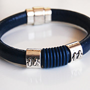 Men's Navy Blue Licorice Greek Leather Bracelets - leather Bracelets- - Mens Bracelets -For Me