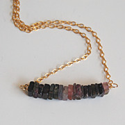 Watermelon Tourmaline Heishi Cube Square Beaded Necklace with Gold filled Chain- Mother's day
