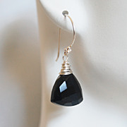 Black Spinal Dangle Drop Earrings- Mother's Day