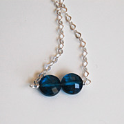 London blue quartz Necklace and Sterling Silver chain- Women's jewellery-Wedding Jewelry- Brid