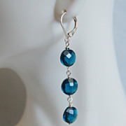 London blue quartz Earrings on Sterling Silver - Women's jewellery-Wedding Jewelry- Bridal Jew