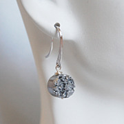 Silver Titanium Druzy Quartz Dangle Drop Earrings - Mother's Day