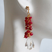 Ruby And Crystal Quartz Cluster dangle Drop Earrings -July Birthstone Earrings- Wedding Jewelr
