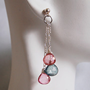 Pink And Green Mystic quartz faceted heart briolette Dangle Drop Earrings