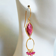 Pink Quartz-Bezel setting Ruby Glass Marquise Dangle Drop Earrings-Hoop Earrings