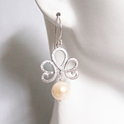 Pearl Wedding Earrings- Wedding Jewelry- Bridal Jewelry-Fresh Water Pearl Dangle Drop Earrings