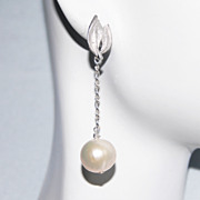 Wedding Earrings- Wedding Jewelry- Bridal Jewelry-Fresh Water Pearl Dangle Drop Earrings-June
