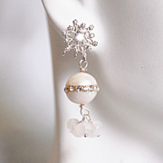 Wedding Earrings- Wedding Jewelry- Bridal Jewelry-Fresh Water Pearl And Moonstone Earrings-Jun