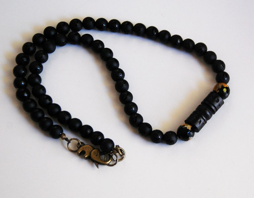s necklace s jewelry matte black onyx agate