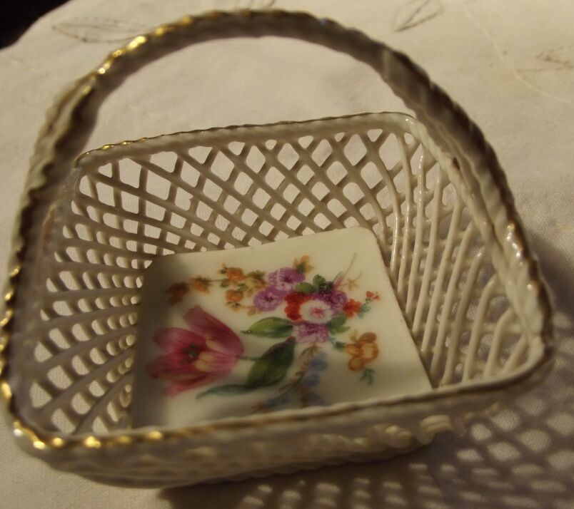 German Miniature  Porcelain Basket