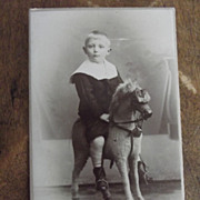 Carte de Viste of Boy on Rocking Horse
