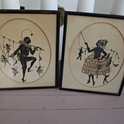 Pair of Art Deco Silhouettes............UNUSUAL!
