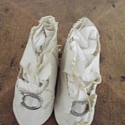 White  Antique Doll Shoes