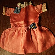 REDUCED Tangerine Orange Dress With Lace and Trim