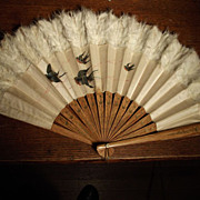 Lovely Old Fan With Birds and Feathers