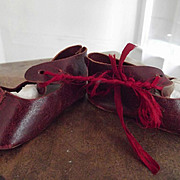 Red Leather Doll Shoes