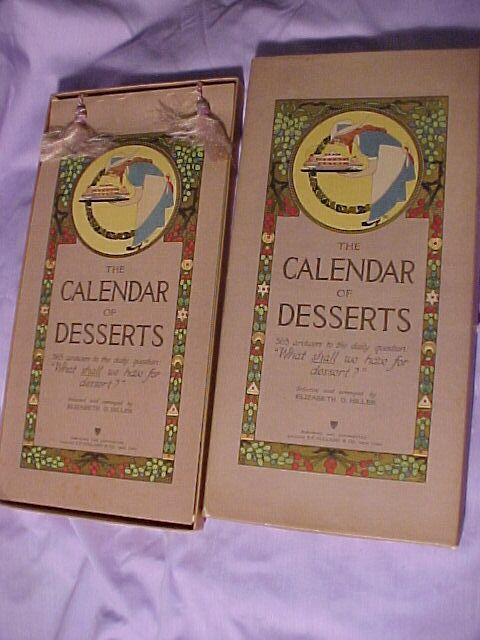Calendar of Desserts reserved for Luc