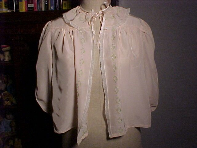 Pretty Vintage Bed Jacket Pink With Pink&Green Trim