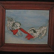 REDUCED Oil On Artist Board-Dalmatian Pups