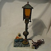 REDUCED Polychromed Arab Motif Spelter  Lamp