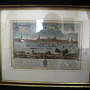 REDUCED Old World Harbor Scene Lithograph-Newly Framed