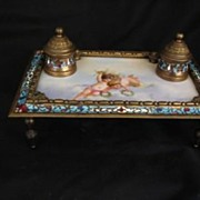 REDUCED Bronze Champleve Enamel and Hand Painted Tile Center Ink Stand