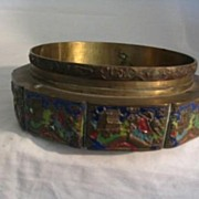 REDUCED Oriental Enamel Bronze Bowl-As Is