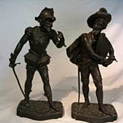"REDUCED Pair Antique Bronze Cavaliers-Artist Signed ""Brisson"""