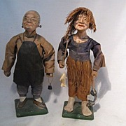 REDUCED Pair Oriental Clay Dolls-Old