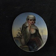 REDUCED European Oil On Porcelain Miniature-Antique