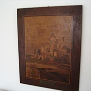 REDUCED Framed Inlaid Wood Plaque-France-Old