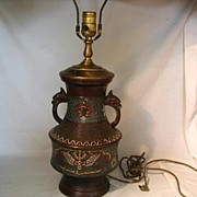 REDUCED Bronze Champleve Enamel Lamp-Japan