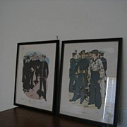 REDUCED Pair Framed U.S. Navy Uniform Prints