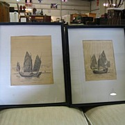 REDUCED Pair Oriental Junk Etchings