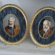 REDUCED Pair European Oil On Porcelain Portraits-19th Century