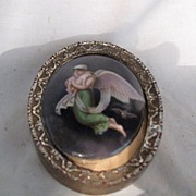 REDUCED European Oil Painting On Porcelain-Antique