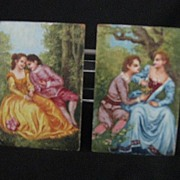 REDUCED Pair Hand Painted Miniatures On Artist Board