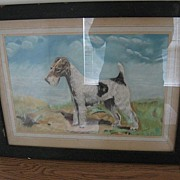 REDUCED Framed Painting Of Wire Haired Terrier Dog