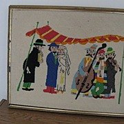 "REDUCED Hand Made Needlepoint-""Jewish Wedding"""