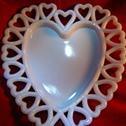 SOLD Vintage Westmoreland Valentine Lacy Heart Edge Milk Glass heart shaped dish